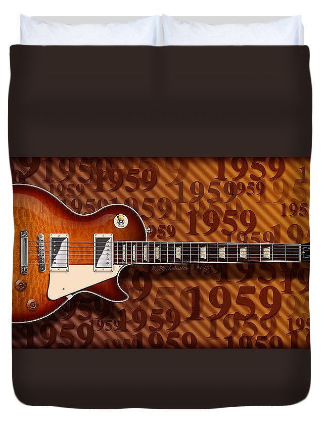 Gibson Les Paul Duvet Cover featuring the digital art 1959 by WB Johnston