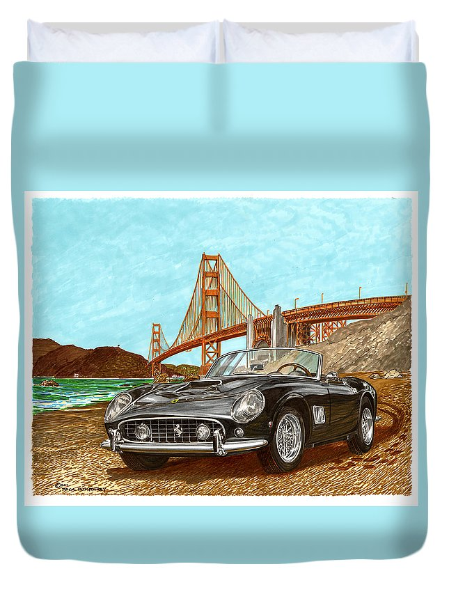 1960 Ferrari Art By Jack Pumphrey Of James Coburn's 1960 Ferrari Gt 250. Jim Loved Ferrari's Duvet Cover featuring the painting 1960 Ferrari 250 California G T by Jack Pumphrey