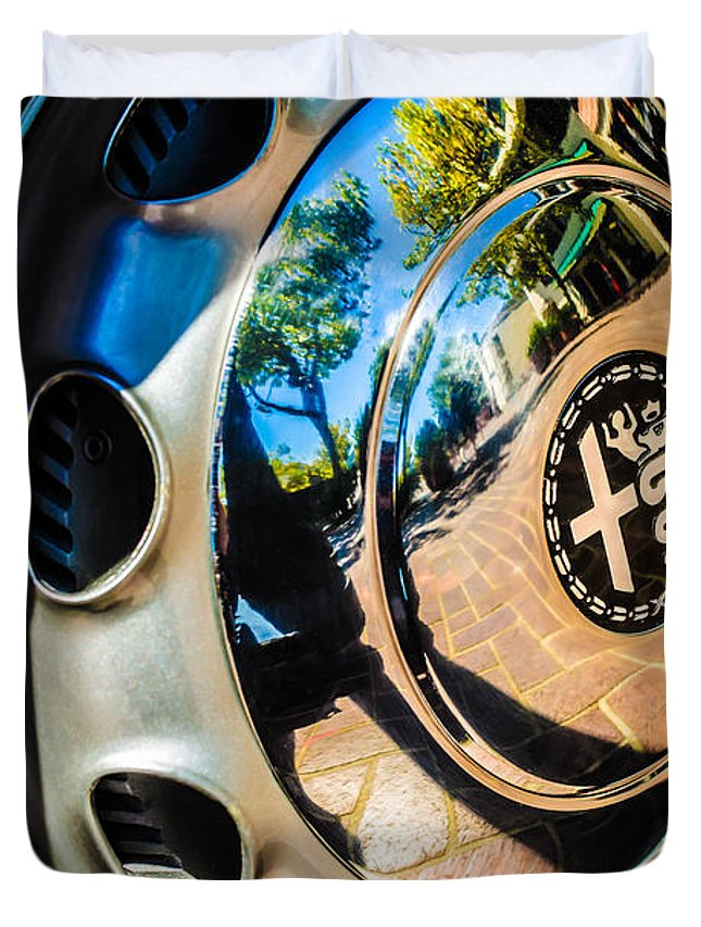 1961 Alfa Romeo Giulietta Sprint Speciale Wheel Emblem Duvet Cover featuring the photograph 1961 Alfa Romeo Giulietta Sprint Speciale Wheel Emblem -0051c by Jill Reger