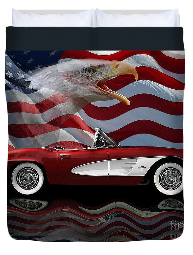 1961 Corvette Tribute Duvet Cover featuring the photograph 1961 Corvette Tribute by Peter Piatt