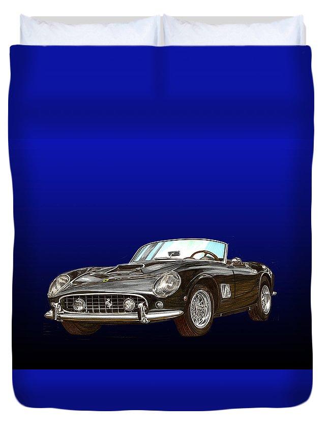1961 Ferrari 250 Gt California Duvet Cover featuring the painting 1961 Ferrari 250 G T California by Jack Pumphrey