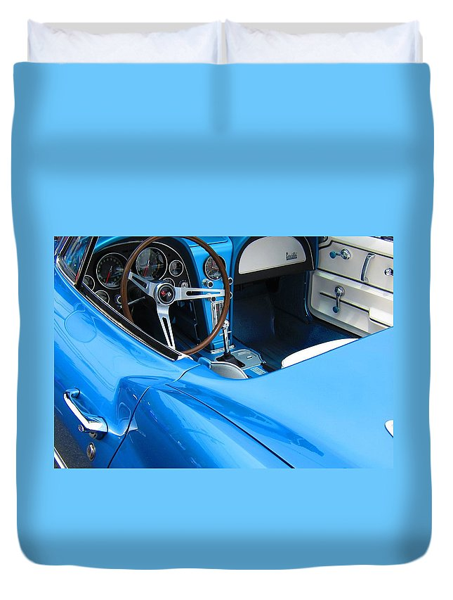 1963 Duvet Cover featuring the photograph 1963 Corvette Driver Approach by Sven Migot