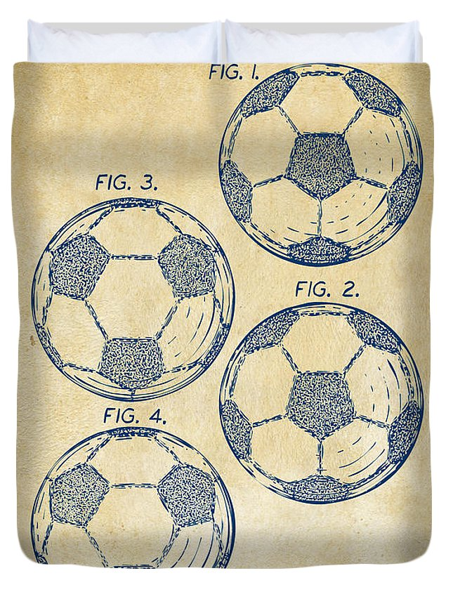 Soccer Duvet Cover featuring the digital art 1964 Soccerball Patent Artwork - Vintage by Nikki Marie Smith