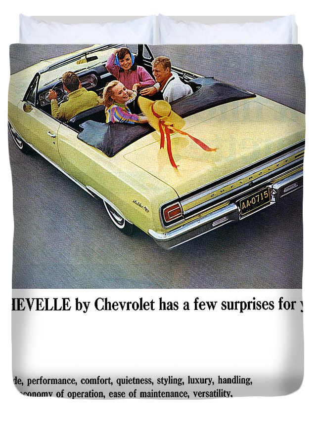 1965 Duvet Cover featuring the digital art 1965 Chevelle Convertible by Digital Repro Depot