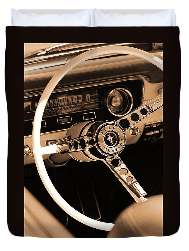 1965 Duvet Cover featuring the photograph 1965 Ford Mustang by Gordon Dean II