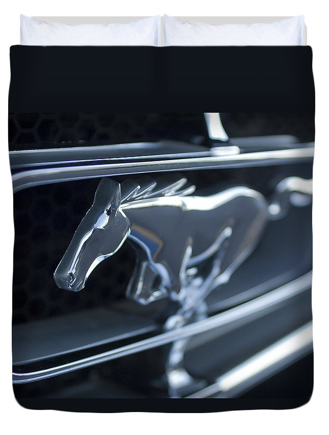 1965 Shelby Prototype Ford Mustang Emblem Duvet Cover featuring the photograph 1965 Shelby Prototype Ford Mustang Grille Emblem 2 by Jill Reger