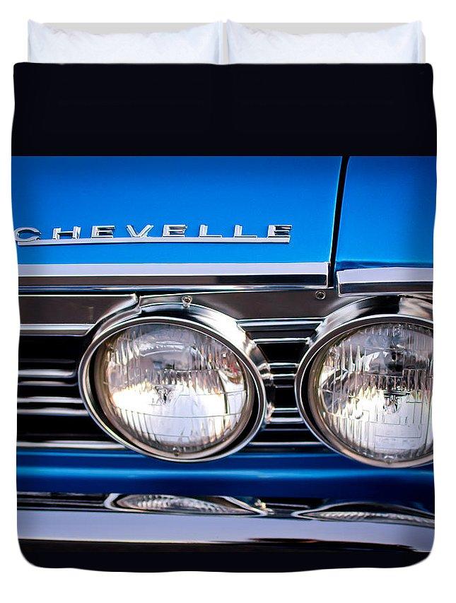 1967 Chevrolet Chevelle Super Sport Duvet Cover featuring the photograph 1967 Chevrolet Chevelle Super Sport Headlight by Jill Reger