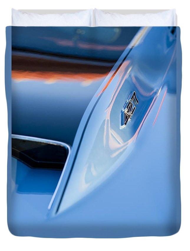 1967 Chevrolet Corvette Duvet Cover featuring the photograph 1967 Chevrolet Corvette 427 Hood Emblem 3 by Jill Reger