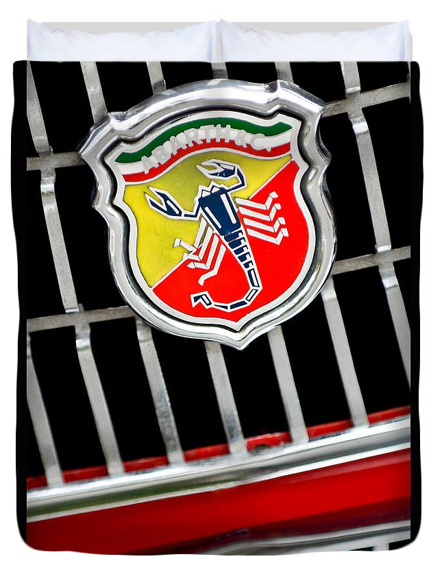 1967 Fiat Abarth 1000 Otr Duvet Cover featuring the photograph 1967 Fiat Abarth 1000 Otr Emblem by Jill Reger