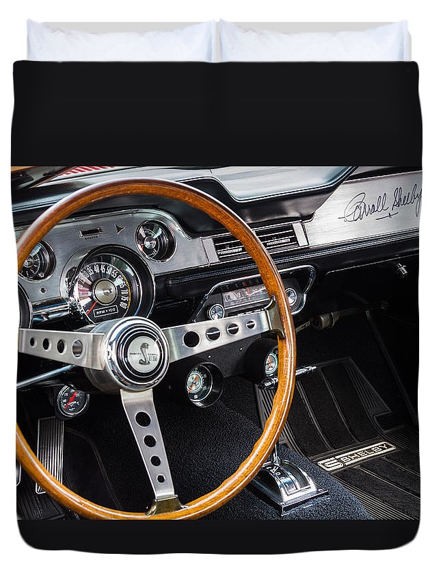 1967 Shelby Gt350 Duvet Cover featuring the photograph 1967 Shelby Gt 350 Signed Dash by Roger Mullenhour
