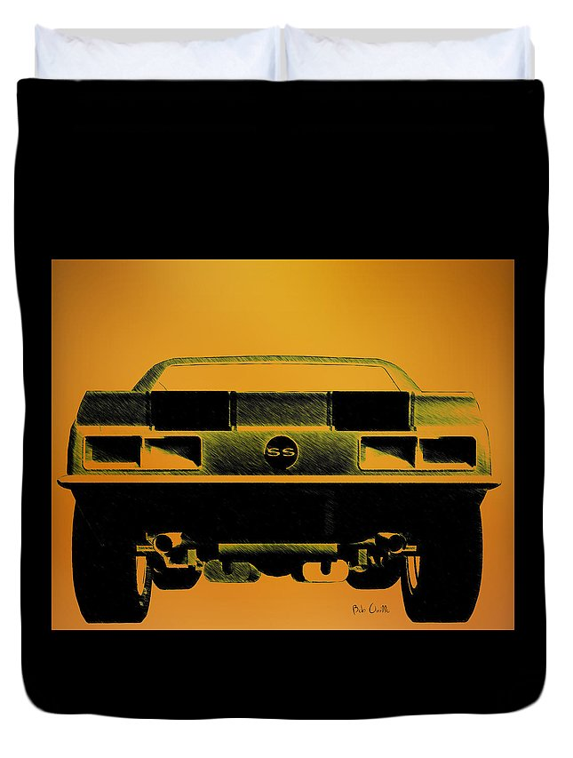 1968 Camaro Ss Duvet Cover featuring the drawing 1968 Camaro Ss Full Rear by Bob Orsillo