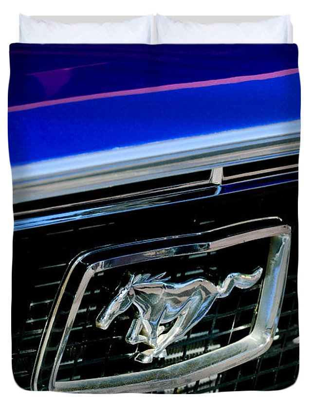 Ford Mustang Cobra Gt  Grille Emblem Duvet Cover Featuring The Photograph  Ford Mustang