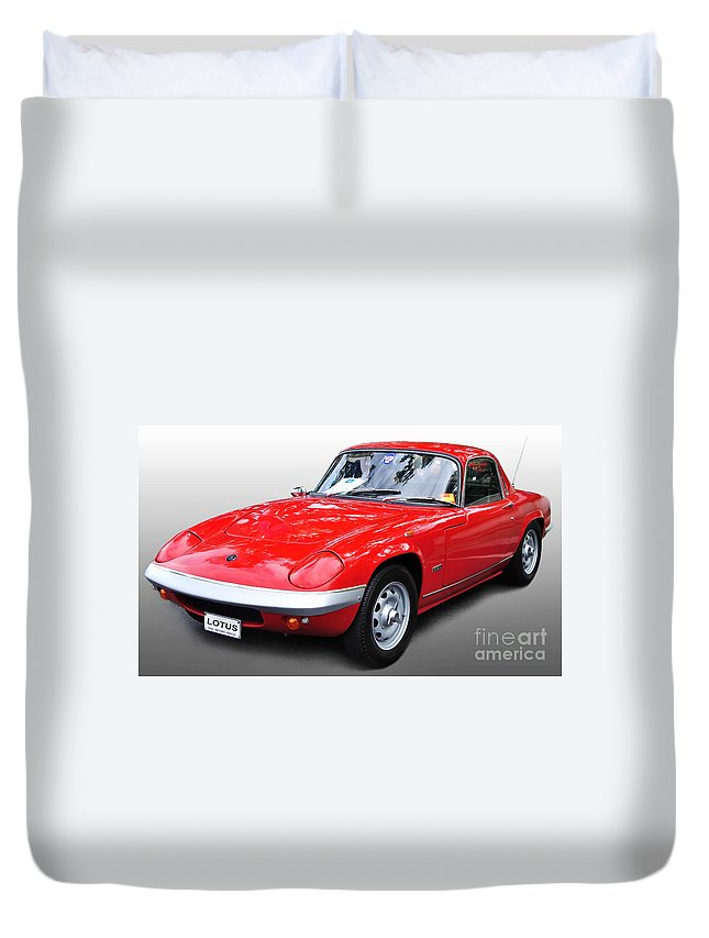 Photography Duvet Cover featuring the photograph 1968 Lotus - Elan S4 - Full View by Kaye Menner