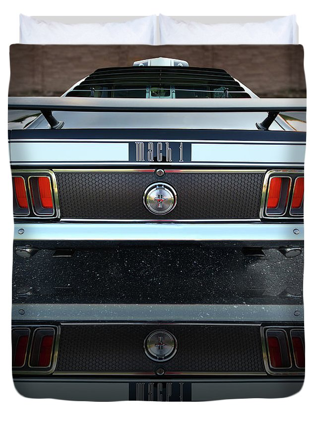 1973 Duvet Cover featuring the photograph 1970 Ford Mustang Mach 1 by Gordon Dean II