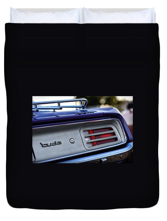 426 Duvet Cover featuring the photograph 1970 Plum Crazy Purple Plymouth 'cuda by Gordon Dean II