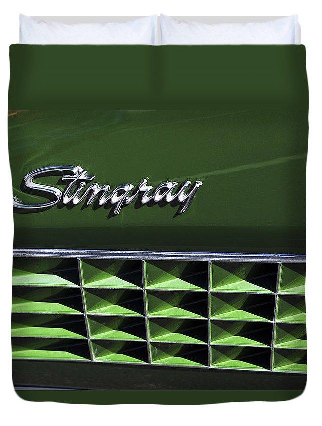 1972 Chevrolet Corvette Convertible Stingray Duvet Cover featuring the photograph 1972 Chevrolet Corvette Stingray Emblem by Jill Reger