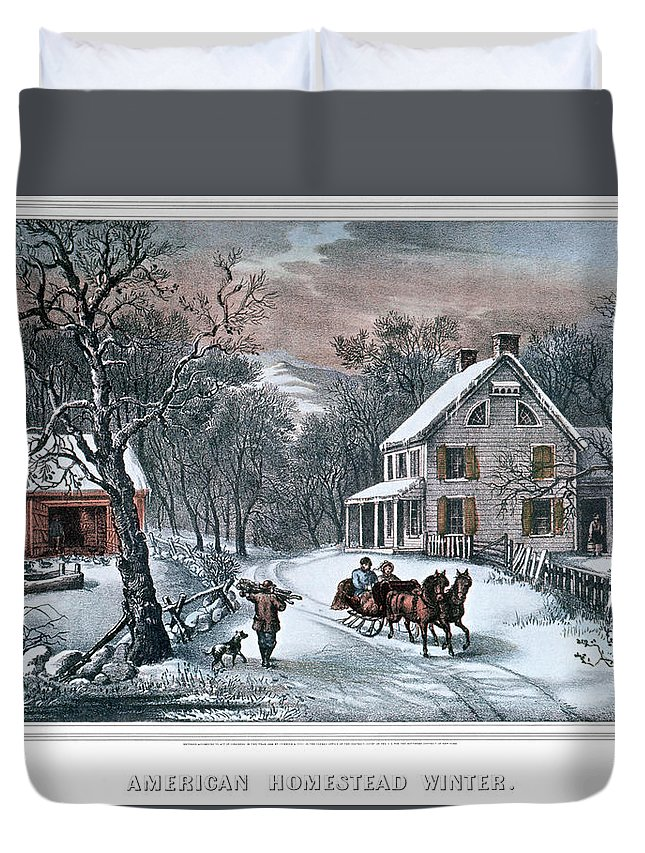 Horizontal Duvet Cover featuring the painting 1980s American Homestead Winter - by Vintage Images