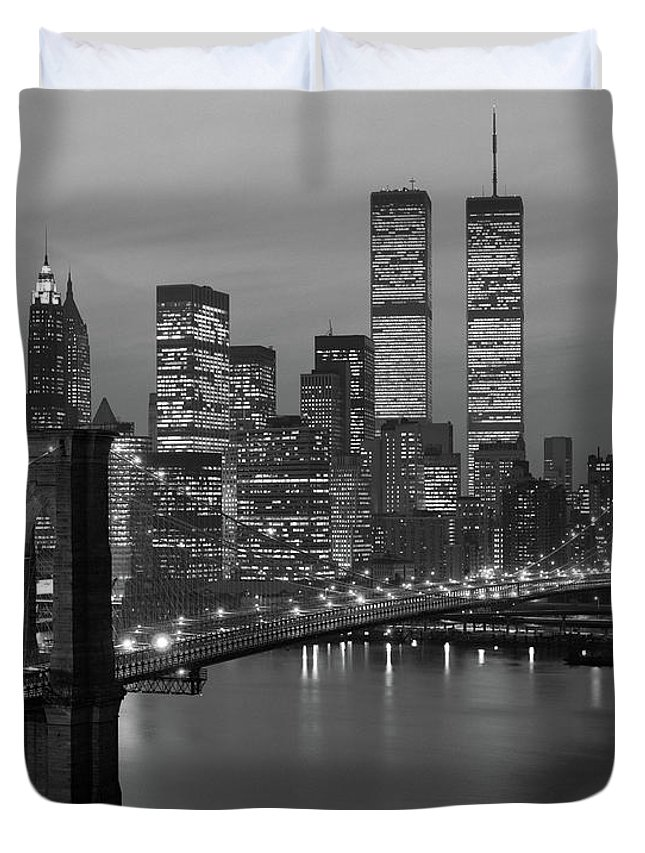 Photography Duvet Cover featuring the photograph 1980s New York City Lower Manhattan by Vintage Images