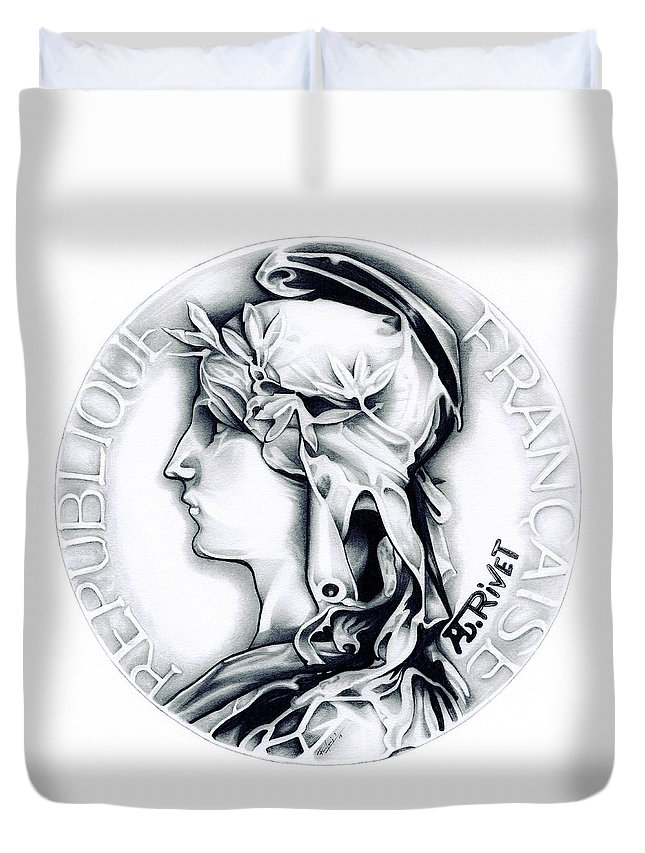 Coin Duvet Cover featuring the drawing 1896 French Indochine Silver Medal Of Honor - Original by Fred Larucci