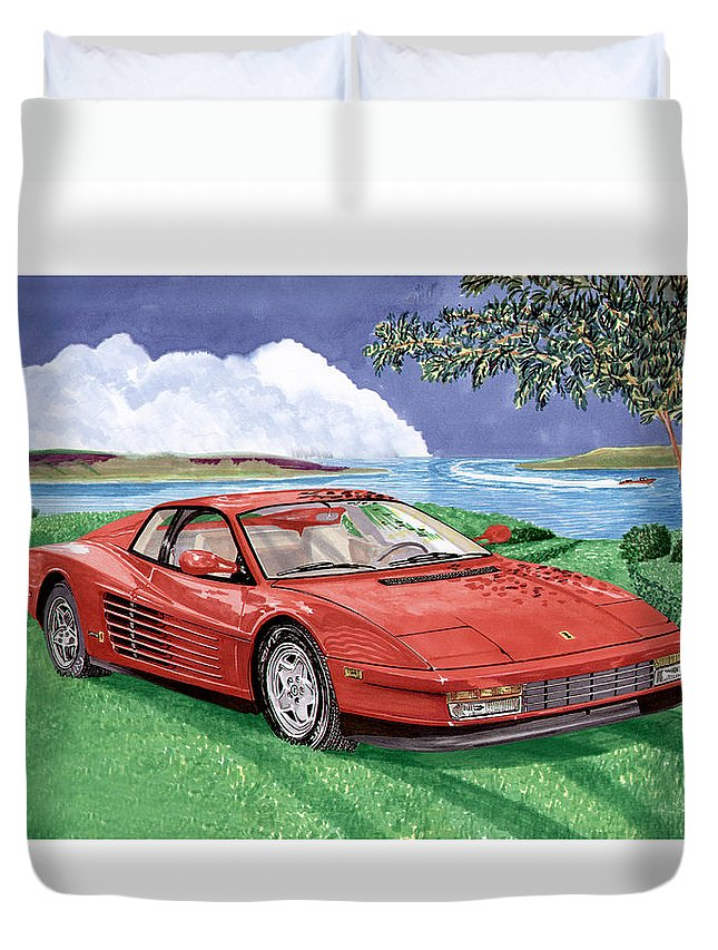 1987 Ferrari Testarosa Watercolor Art By Jack Pumphrey Duvet Cover featuring the painting 1987 Ferrari Testarosa by Jack Pumphrey