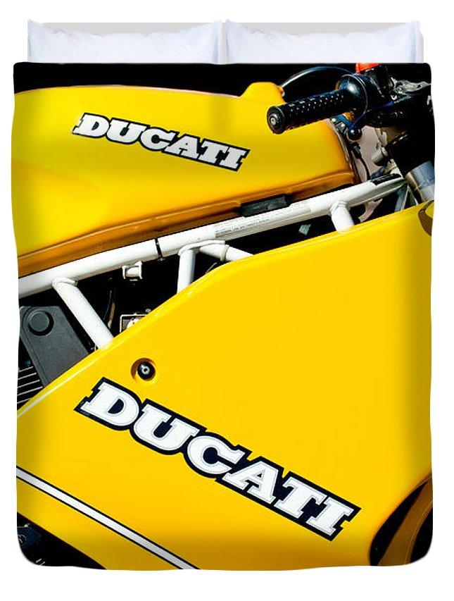 1993 Ducati 900 Superlight Motorcycle Duvet Cover featuring the photograph 1993 Ducati 900 Superlight Motorcycle by Jill Reger