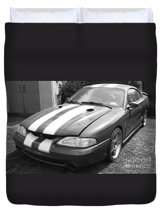 1996 Mustang Cobra In Black And White Duvet Cover featuring the photograph 1996 Mustang Cobra In Black And White by John Telfer