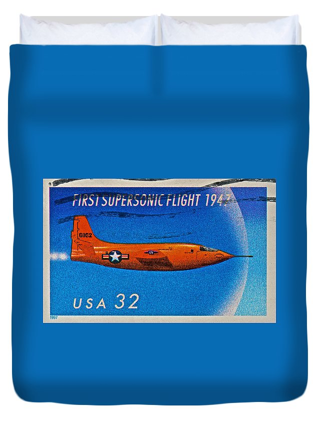 1999 Duvet Cover featuring the photograph 1997 First Supersonic Flight Stamp by Bill Owen