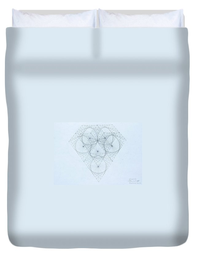 Jason Padgett Duvet Cover featuring the drawing Diamond Quanta by Jason Padgett