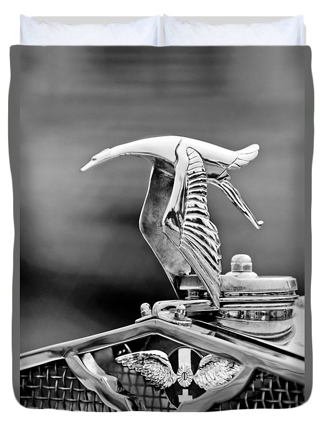 1930 Hispano-suiza H6c Kellner Transformable Hood Ornament Duvet Cover featuring the photograph 1930 Hispano-suiza H6c Kellner Transformable Hood Ornament by Jill Reger