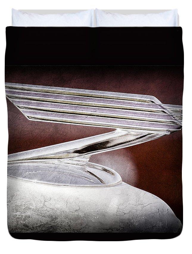 1934 Chevrolet Hood Ornament Duvet Cover featuring the photograph 1934 Chevrolet Hood Ornament by Jill Reger