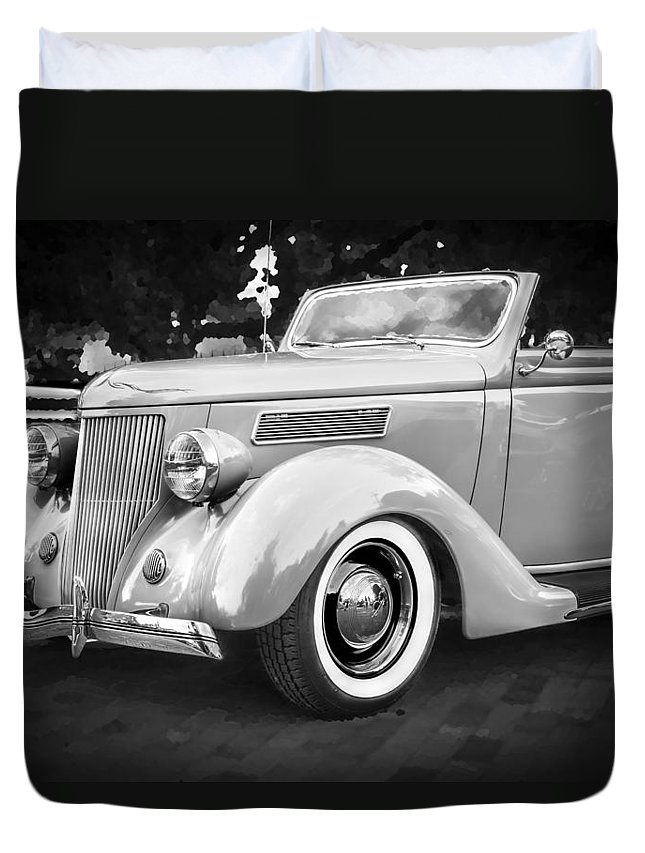 1936 Ford Duvet Cover featuring the photograph 1936 Ford Cabriolet Bw by Rich Franco