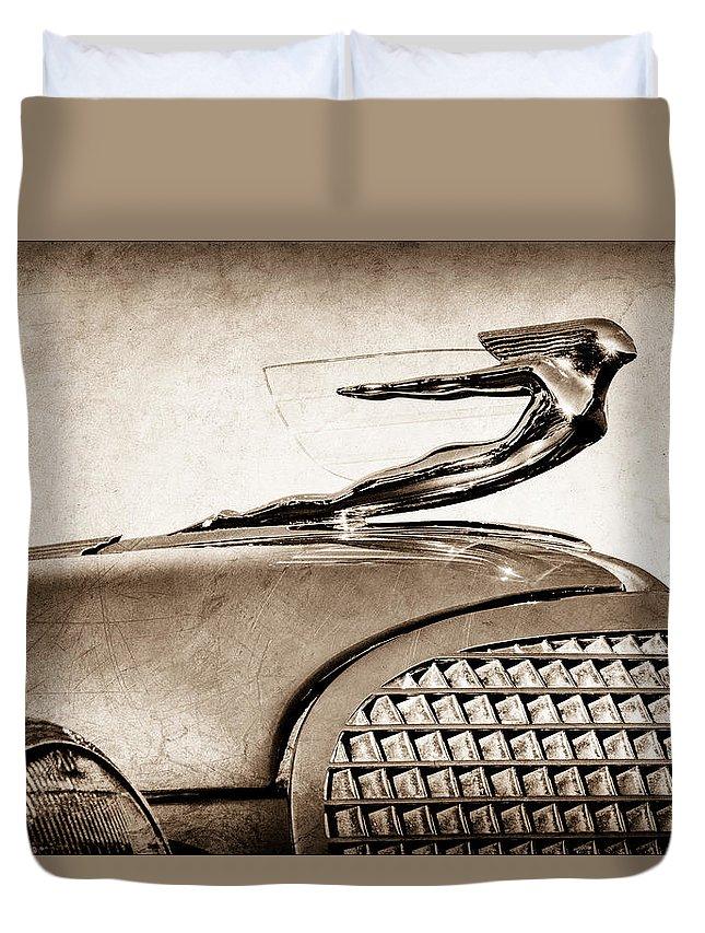 1937 Cadillac V8 Hood Ornament Duvet Cover featuring the photograph 1937 Cadillac V8 Hood Ornament by Jill Reger