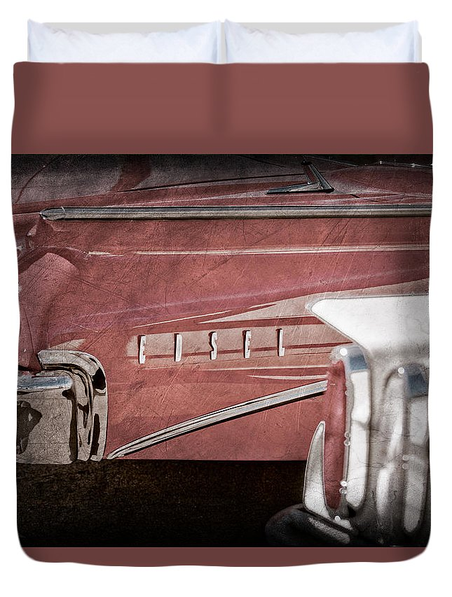 1960 Edsel Taillight Duvet Cover featuring the photograph 1960 Edsel Taillight by Jill Reger