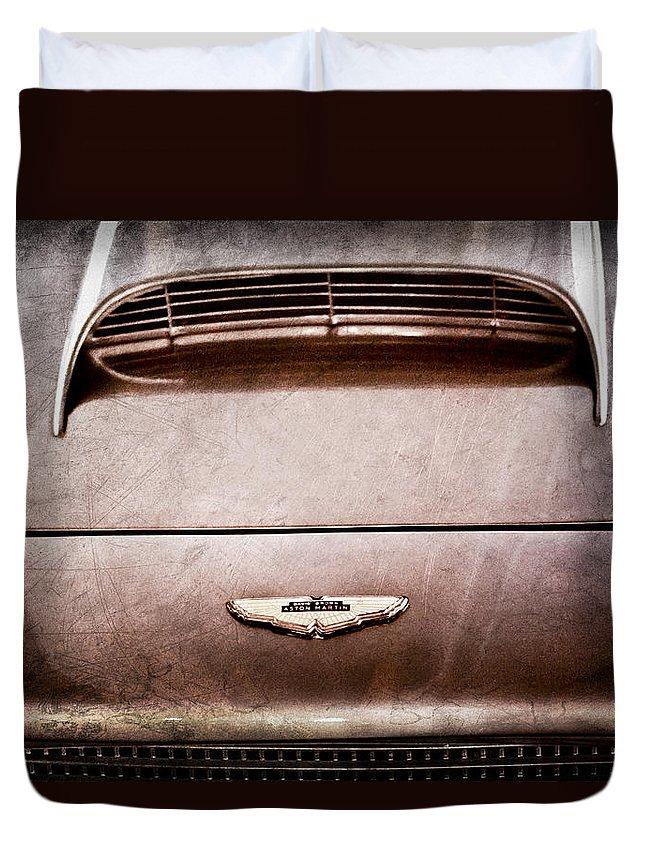 1961 Aston Martin Db4 Coupe Emblem Duvet Cover featuring the photograph 1961 Aston Martin Db4 Coupe Emblem by Jill Reger