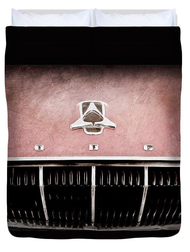 1962 Dodge Polara 500 Emblem Duvet Cover featuring the photograph 1962 Dodge Polara 500 Emblem by Jill Reger