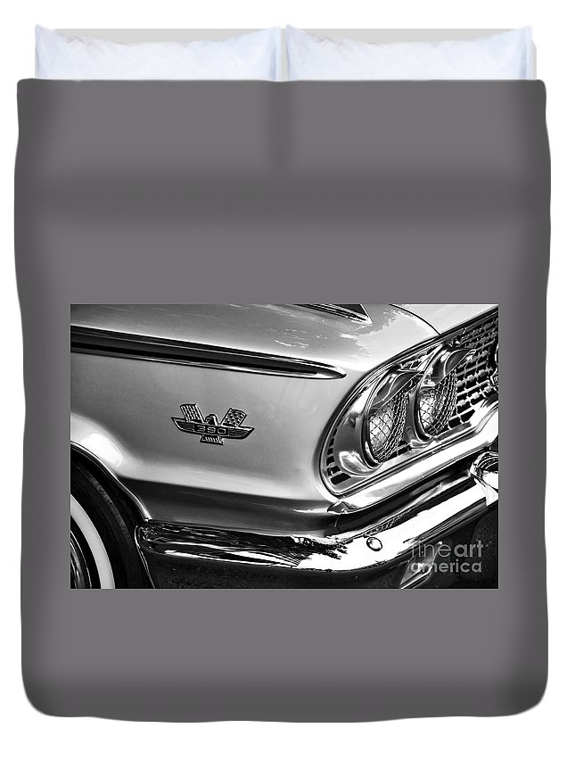 Photography Duvet Cover featuring the photograph 1963 Ford Galaxie Front End And Badge by Kaye Menner