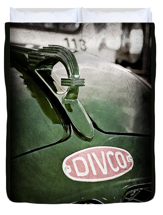1965 Divco Milk Truck Hood Ornament Duvet Cover featuring the photograph 1965 Divco Milk Truck Hood Ornament by Jill Reger