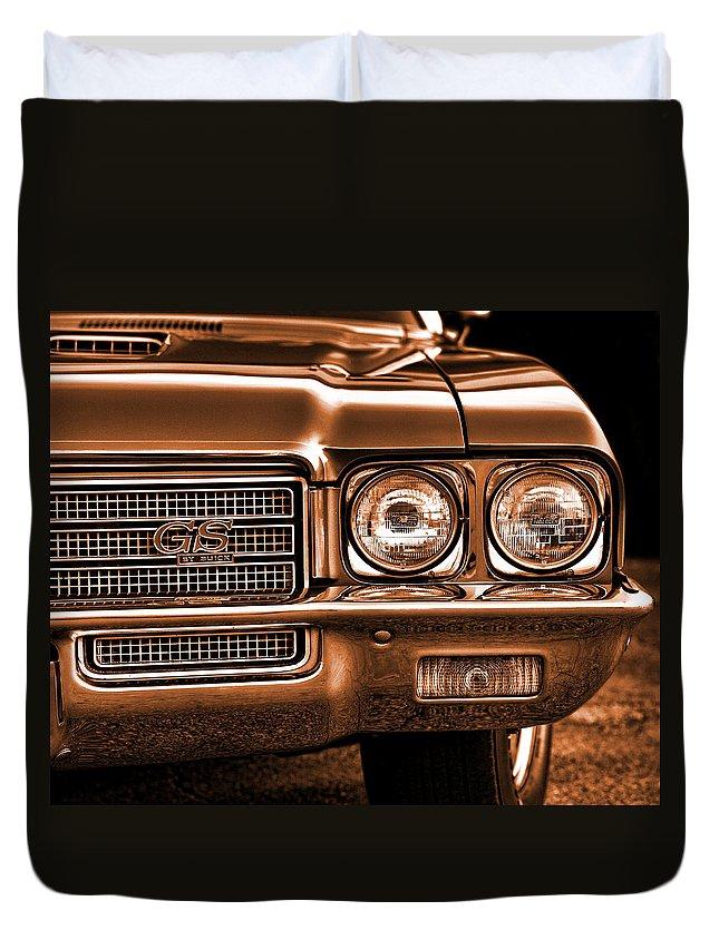 Sepia Duvet Cover featuring the photograph 1971 Buick Gs by Gordon Dean II