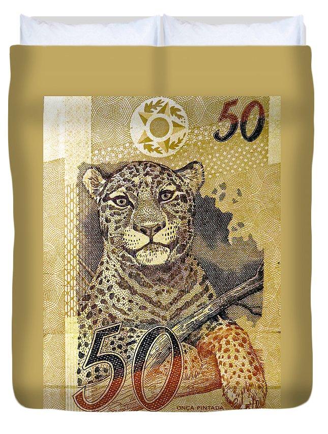 Leopard Duvet Cover featuring the photograph 50 Reais by Julie Niemela