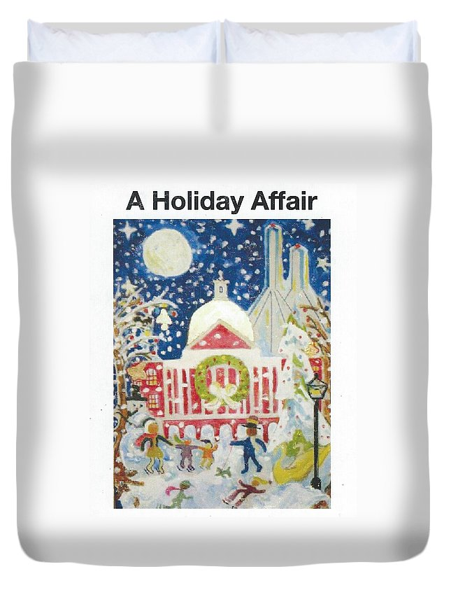 Xmas In Boston People Enjoying A Day Duvet Cover featuring the painting A Holiday Affair by Richard Mangino