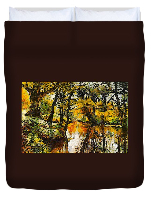 Peder Mork Monsted Duvet Cover featuring the digital art A River Landscape In Springtime by Peder Mork Monsted