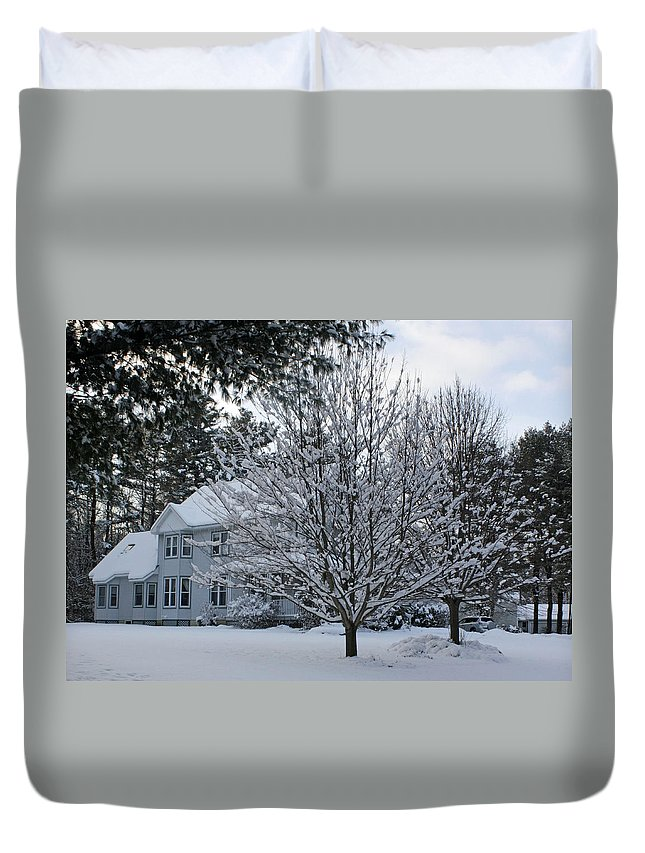 Wintery Scenery Duvet Cover featuring the photograph A Wintery View Along Conifer Drive In Burnt Hills by James Connor