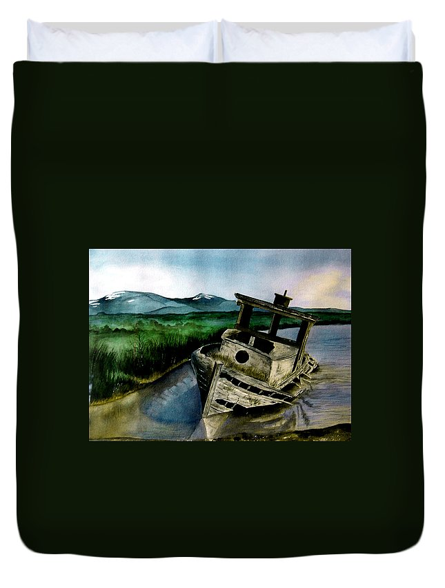 Watercolor Duvet Cover featuring the painting Abandoned by Brenda Owen