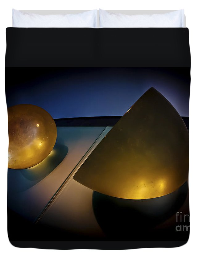 Yellow Duvet Cover featuring the photograph Abstract 3d Shapes by Dan Yeger