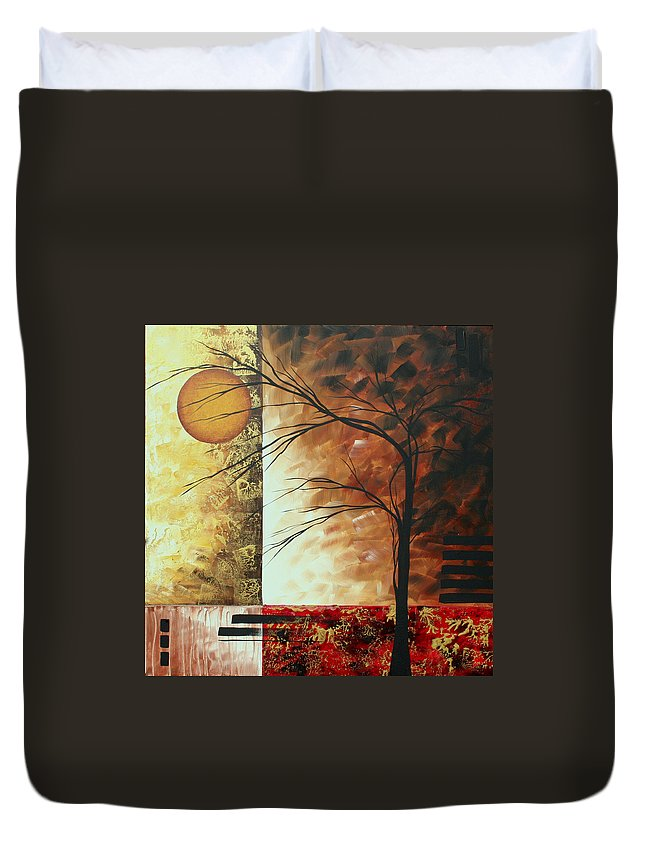 Decorative Duvet Cover featuring the painting Abstract Gold Textured Landscape Painting By Madart by Megan Duncanson
