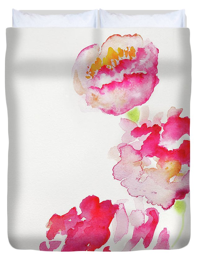 Art Duvet Cover featuring the photograph Abstract Watercolour Flowers by Kathy Collins
