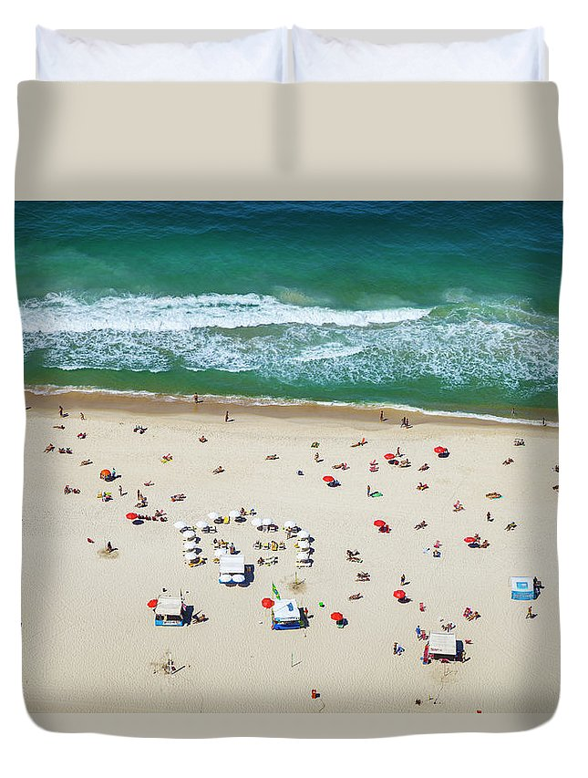 Water's Edge Duvet Cover featuring the photograph Aereal View Of Copacabana Beach In Rio by Gonzalo Azumendi