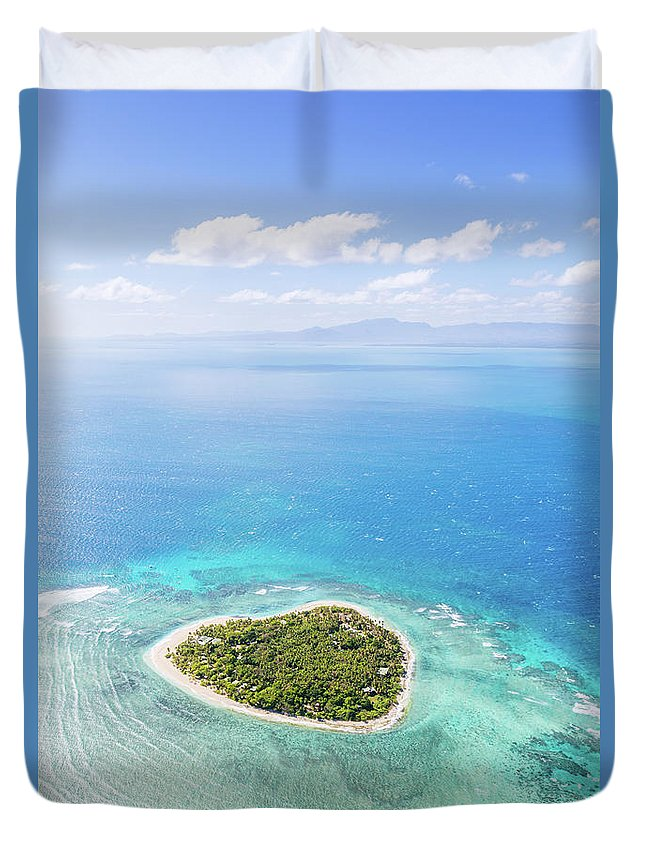 Tranquility Duvet Cover featuring the photograph Aerial View Of Heart Shaped Island by Matteo Colombo