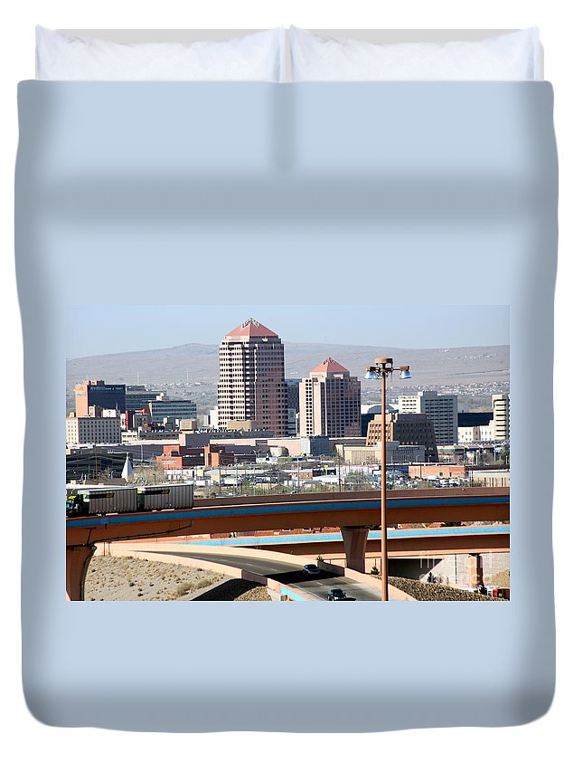 Aerial Duvet Cover featuring the photograph Albuquerque Skyline by Bill Cobb