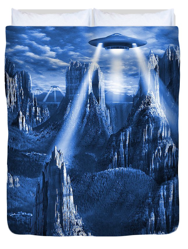 Square Duvet Cover featuring the photograph Alien Planet In Blue by Mike McGlothlen